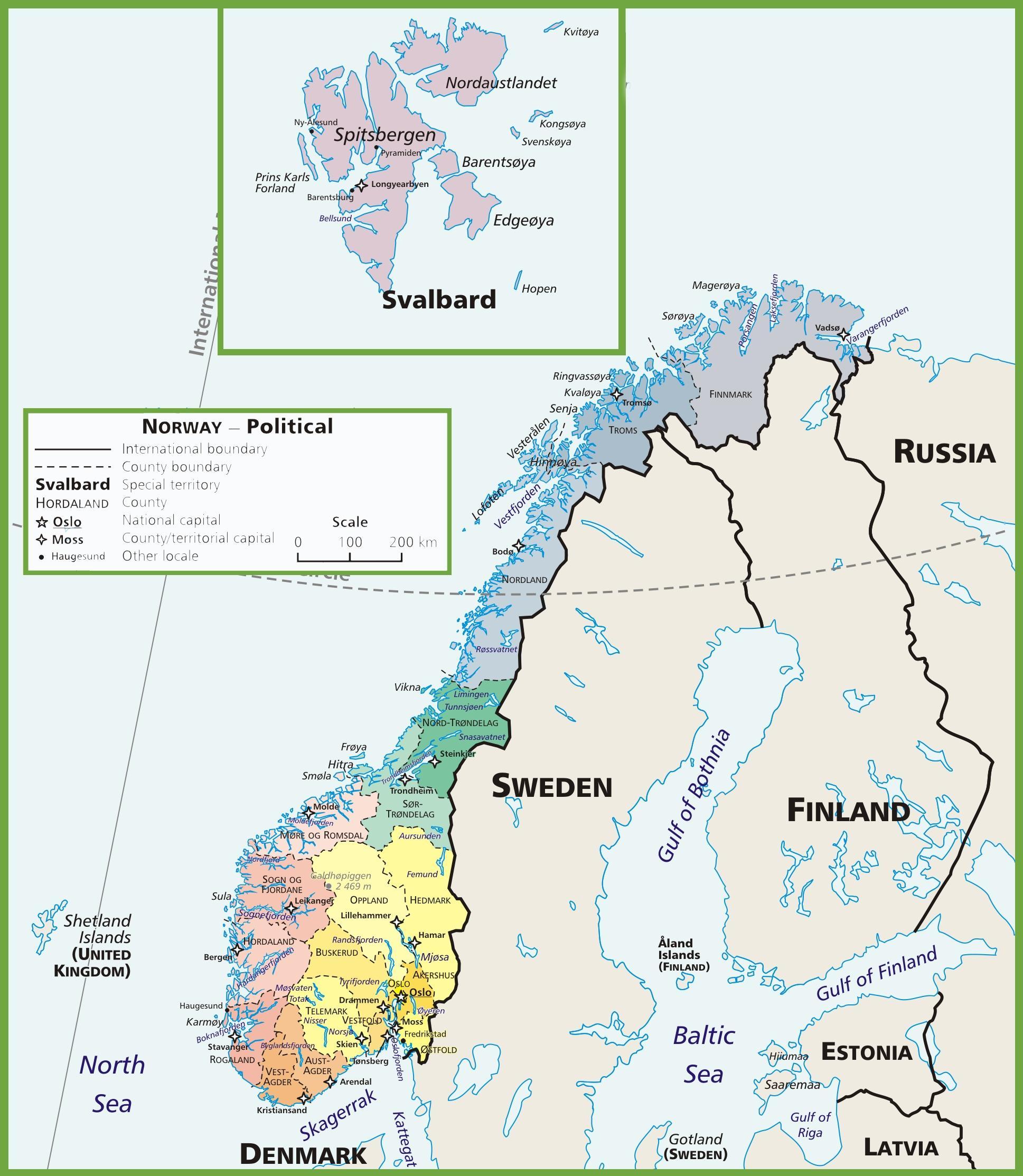 Polityczne Norwegia Mapa Norwegii Politycznego Europa Polnocna